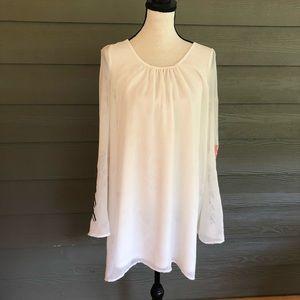 Umgee Boho Dress Swing Sheer White Embroidered L